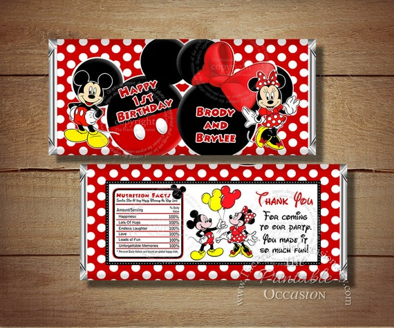 Mickey and Minnie Mouse Candy Bar Wrapper for Twins and Siblings, Twin Mickey Mouse, Twin Minnie Mouse, Candy Bar Wrapper, Siblings Wrapper