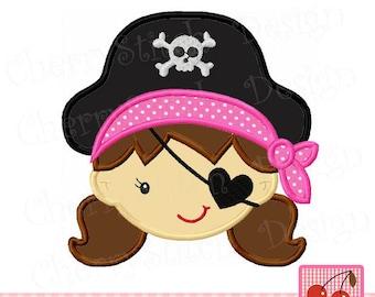 "Pirate girl Machine Embroidery Applique Design - 4x4 5x5 6x6""  BG0031"