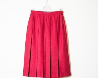 Vintage Red 100% Wool Skirt |  Red Plaited Wool Skirt |  High Waisted Wool Skirt |  Post Box Red Wool Skirt |  Made in Paris