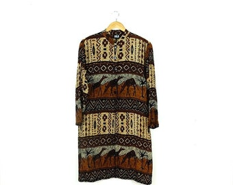 Vintage Ethnic Animal  Motif Rayon Slouchy Long Cardigan /Shirt  from 80's*