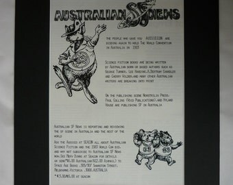1970s Vintage Australian Advert, Worldcon 1983 Print, Science Fiction Convention, Aussiecon Wall Art, Available Framed, Sci-Fi Art, Kangaroo