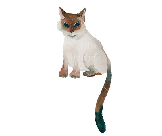 Kawaii siamese funny cat digital download from original watercolor pattern nursery clip art