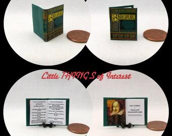 SHAKESPEARE Miniature Book Dollhouse 1:12 Scale Readable Book Pre 1900