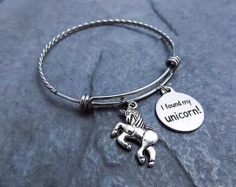 Unicorn Bracelet - Charm Bracelet - Stainless Steel Expandable Bangle - I Found My Unicorn - Unicorn Charm Bracelet - Jewelry