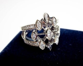 1.5Carat Diamond Ring Engagement/ Wedding/ Dinner Ring, 9 Marquise & 24 Round Genuine Diamonds, Vintage, Mid  Century, 14K, NYUSA.