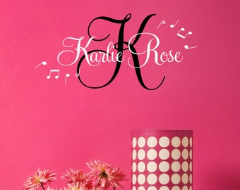 Music Notes Girls Room Wall Decal - Teen Girl Name Decals - Personalized Kids Decal - Children Monogram Decals - Nursery Girls Decal