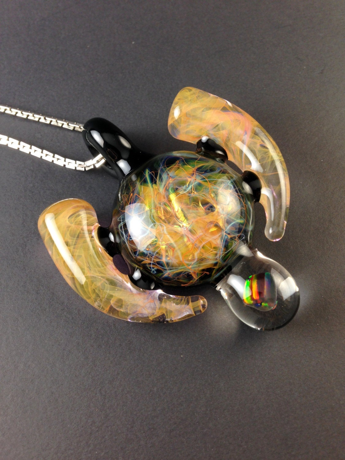 heady silver gold fumed chaos pendant with by