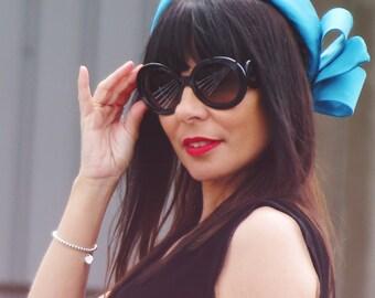 Silk pillbox hat - Handmade pillbox hat for her - Women wedding hat - Jackie Kennedy hat - Blue silk hat with bow