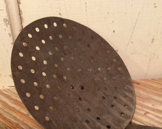 Vintage metal skimmer, strainer, perforated ladle, industrial kitchen, hearth ladle
