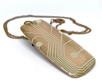 Copper Necklace with Circuit Pendant -.....-  printed circuit board, PCB jewelry, motherboard