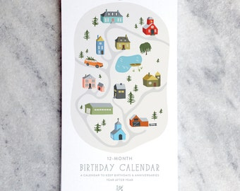 Birthday Calendar, Perpetual Calendar, Village Illustrated cottages, church, schoolhouse, pond, barn, town