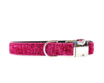 Hot Pink Sparkle Dog Collar - Glitterless Sparkle Shimmery Soft Hot Pink Dog Collar for Small + Large Breed Dogs