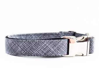 Grey Hatch Dog Collar - Cross Hatch Geometric Collar with Metal Hardware