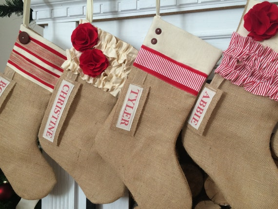 Burlap Christmas Stocking Red and White personalized Rustic