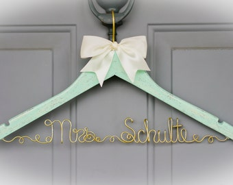 Wedding Dress Hanger - I said yes - Bridal Hanger - Fairy-tale Wedding - Mint & Gold Wedding Hanger - Original design - Unique Design Hanger