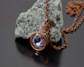 Violet Crystal Necklace, Swarovski Crystal Pendant, unique gift, Chain Necklace, Lilac Necklace, Wire Wrapped Copper pendant, Wife gift