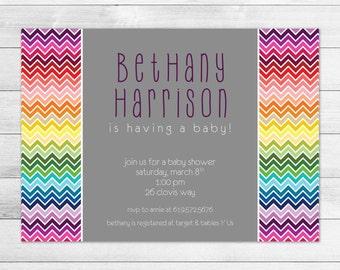 Chevron Rainbow Baby Shower Invitation
