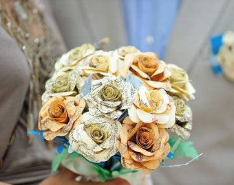 Map bouquet Paper roses created from middle earth maps posy