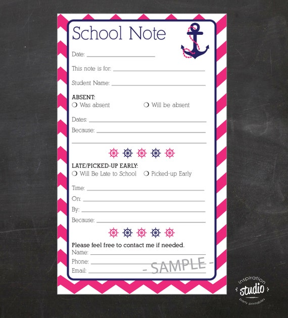 nautical blue and pink school note printable absent late drop off and early pick up. Black Bedroom Furniture Sets. Home Design Ideas