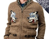Custom Handmade Mary Maxim Wolf Sweater Cowichan Style Wool Cardigan Sweater Jumper made to order 449.102.MTO
