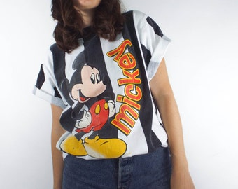 Vintage 90s Black and White Striped Mickey Mouse Ringer Tee