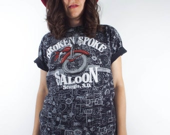 Vintage 90s Broken Spoke Saloon Black and Grey Printed Motorcycle Tee