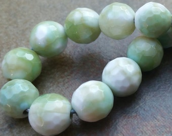 9mm Agate Faceted Green and White Beads, Gemstone Beads, full Strand. 30 pcs