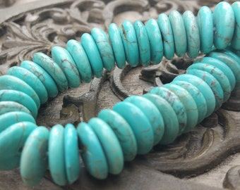 12mm Genuine Turquoise Disk Gemstone Beads, full strand 60 pcs