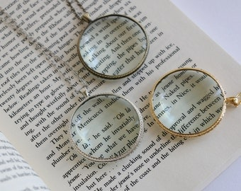 Vintage literary gifts, Magnifying glass necklace, Magnifying glass pendant, book lovers gift, solitaire minimalist simple delicate school