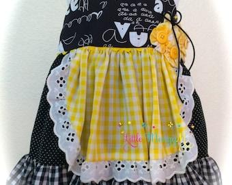 Baby Girl Dress-Halter Dress-Girls Boutique Dress-Black Ruffle Trim-Yellow Check Fabric-Gathered Apron-Lace Trim-12 months