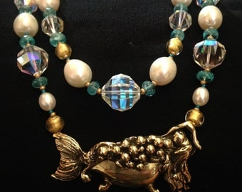 Custom Designed Brass Mermaid in the Bathtub Necklace in a Double Strand of Vintage Aurora Borealis Crystals, Blue Apatite and Pearls