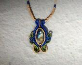 Labradorite Crystal Necklace, Crystal Macrame, Macrame Pendant, Blue and Green Macrame