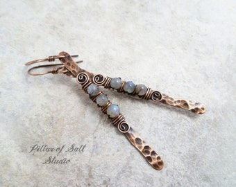 Labradorite earrings / hammered copper stick earrings / wire wrapped earrings / copper jewelry / wire wrapped jewelry handmade earrings