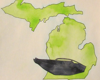 Great Lakes boating watercolor, 11 x 15, green Michigan painting