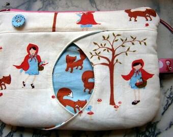 zipper pouch cat eye little red ridinghood wolf handmade pink red blue bag children