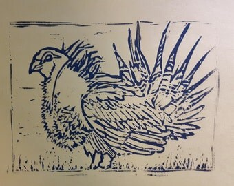 Sage Grouse Linocut Print