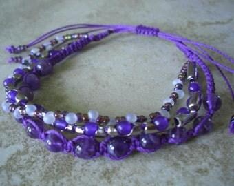 Amethyst, Purple Jade, Aurora Glass Beads, Shamballa Style 3 Layered Bracelet