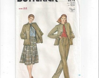 Butterick 3981 Pattern for Misses' Jacket, Skirt, Pants, FACTORY FOLDED, UNCUT, From 1980s, Size 22, Vintage Pattern, Home Sewing Pattern