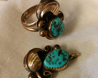 Old Pawn Turquoise & Gold Ring/Pendant Set, Old Pawn Turquoise, Southwest Necklace