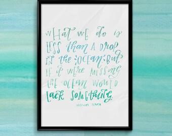 Ocean Mother Teresa Watercolor Quote [Instant Download]