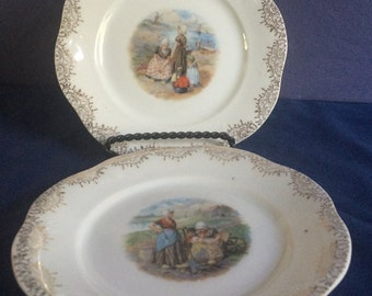 Lot of 2 beautiful salad or dessert plates with Dutch landscape scenes