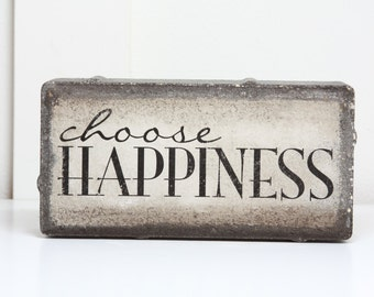 choose HAPPINESS- rustic tumbled stone (concrete) paver- Home Garden Decor Bookend Door Stop