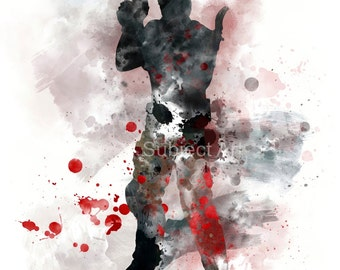 Chris Redfield inspired ART PRINT illustration, Resident Evil, Gaming, Wall Art, Home Decor