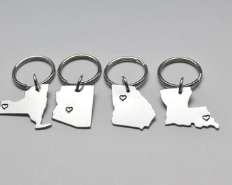 State Key Chains, ANY City State Keychains, Personalized Key Chains
