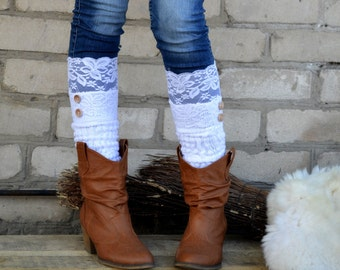 White lace trim Button Down boot cuffs Knit boot socks  Leg warmers legwarmers lace cuffs boot toppers white socks by TTAcc