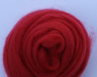 POPPY RED - Merino Wool Roving 1oz