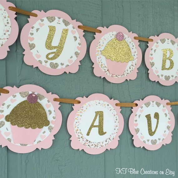 cupcake birthday banner personalized banner cupcake party pink