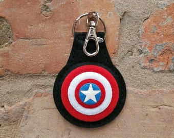 Felt Captain America shield keyring