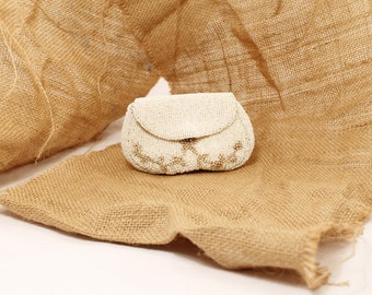 SALE 25% OFF - Beaded Change Purse, Beaded Makeup Bag,  Beaded Evening Bag, Small Change Purse