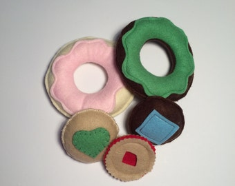 Kitchen Play - Pretend Food - Felt Food - Birthday Gift - Donuts - Cakes - Biscuits